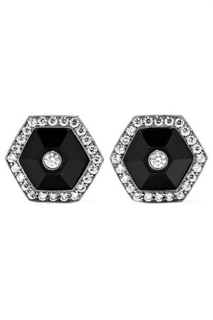 Fred Leighton | Collection 18-karat white gold, jade and diamond earrings | NET-A-PORTER.COM