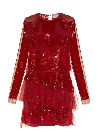 LANVIN Long-Sleeved Tiered Sequin Dress.