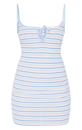 Multi Stripe Tie Bust Strappy Rib Bodycon Dress | PrettyLittleThing USA