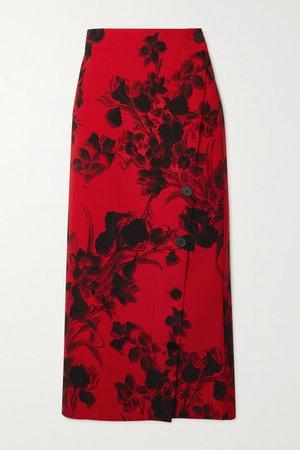 Floral-print Wool-crepe Midi Skirt - Red