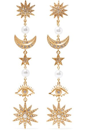 Oscar de la Renta | Gold-tone, crystal and faux pearl clip earrings | NET-A-PORTER.COM