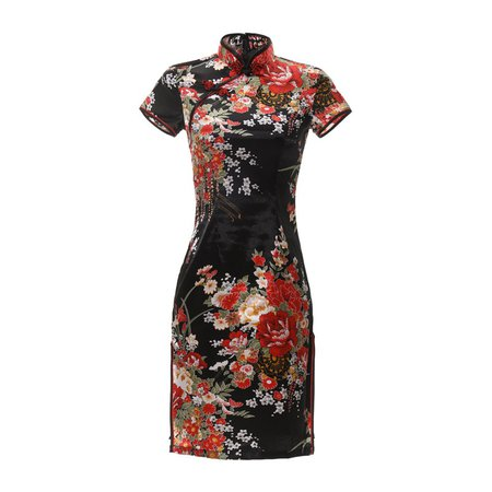 New Arrival Blue Chinese Women's Silk Rayou Halter Cheongsam Mini Qipao Dress Peafowl Size S M L XL XXL Free Shipping D0027-in Cheongsams from Novelty & Special Use on AliExpress
