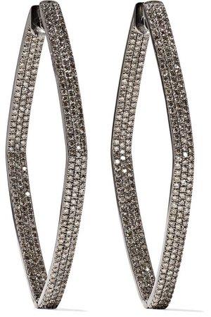 OFIRA   Rhombus 18-karat blackened white gold diamond hoop earrings   NET-A-PORTER.COM