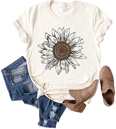 Chulianyouhuo Sunflower Graphic Shirt for Women Cute Flower Short Sleeve Casual Tee Tops Beige at Amazon Women's Clothing store