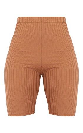 Camel Rib Cycle Shorts   Shorts   PrettyLittleThing USA