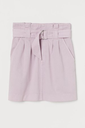 Twill Paper-bag Skirt - Purple