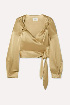 Selena Satin Wrap Top - Gold