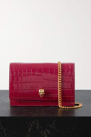 Skull Croc-effect Leather Shoulder Bag - Red