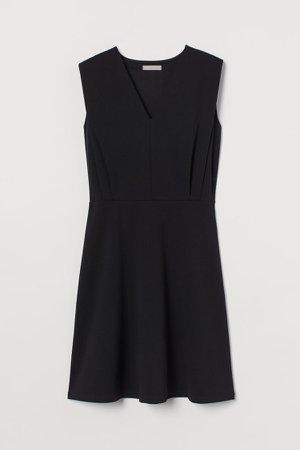 V-neck Jersey Dress - Black