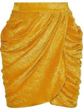 Wrap-effect Devore-velvet Mini Dress