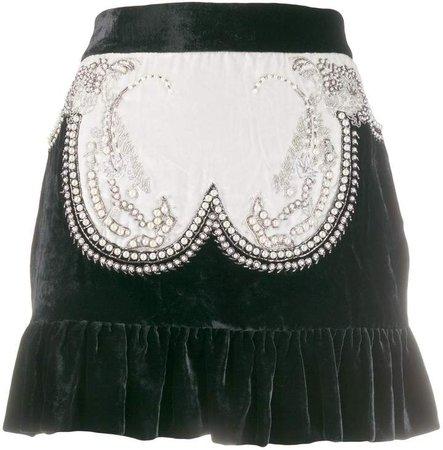 Wandering pearl embellished velvet mini skirt