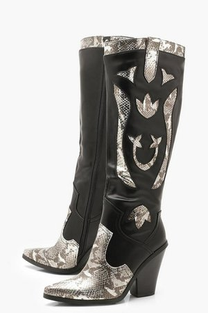 Over The Knee Snake Panel Cowboy Boots | Boohoo