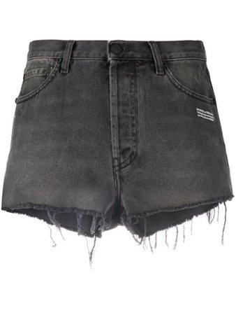 Off-White raw-edge denim shorts - Farfetch