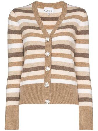 GANNI Striped Knit Cardigan - Farfetch