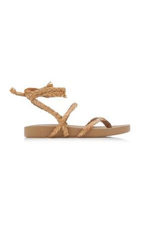 Daal Raffia And Leather Sandals By Johanna Ortiz   Moda Operandi