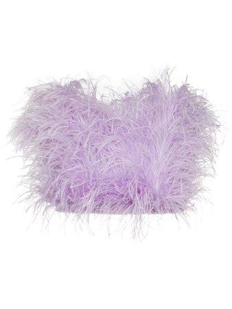 The Attico Ostrich Feather Bandeau Top 201WCT06H004011 Purple   Farfetch