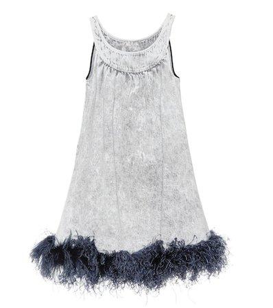 Feather-trimmed denim dress