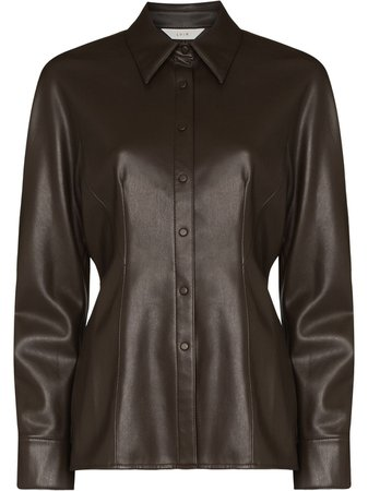 Shop LVIR faux leather button-front shirt with Express Delivery - FARFETCH