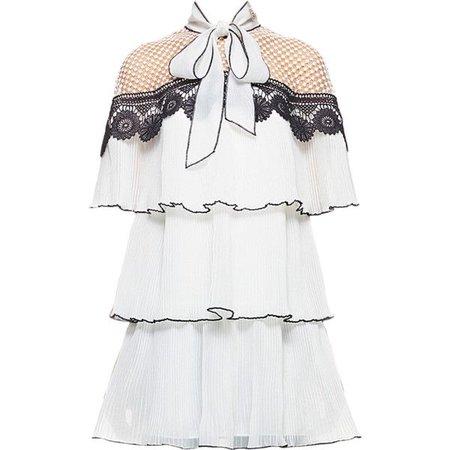 self-portrait monochrome pleated embroidery dress