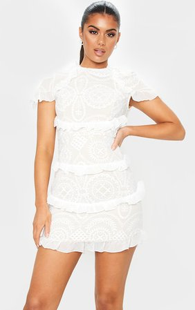 White Broderie Anglaise Frill Bodycon Dress   PrettyLittleThing