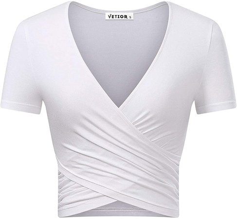 VETIOR Women's Deep V Neck Short Sleeve Unique Slim Fit Cross Wrap Shirts Crop Tops at Amazon Women's Clothing store