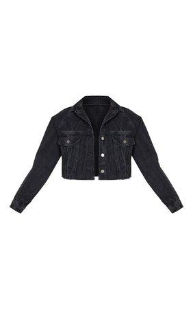 Washed Acid Black Cropped Denim Jacket | PrettyLittleThing USA