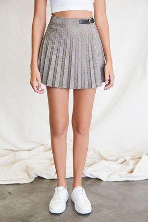 Pleated Plaid Mini Skirt