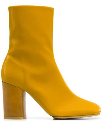 Shop yellow Acne Studios block heel ankle boots with Express Delivery - Farfetch