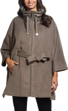 Quilted Collar Wool Blend Cape