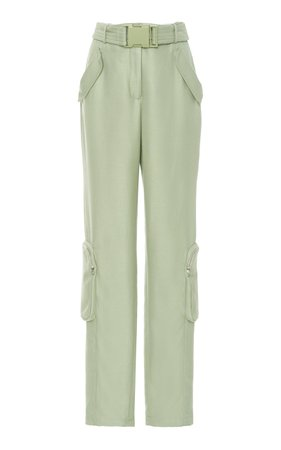 green Belted Duchess Satin Utility Straight leg Pants