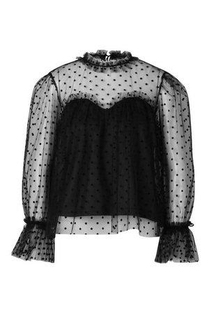 Premium Dobby Mesh Ruffle Blouse | Boohoo black
