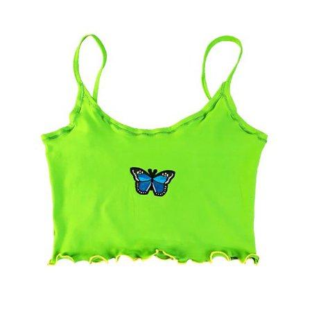 neon green butterfly tank top
