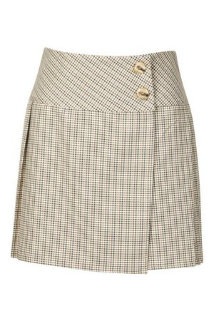 Tonal Check Pleated Kilt Mini Skirt | Boohoo