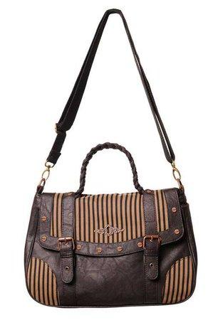 Banned Apparel | Steampunk brown stripe shoulder bag