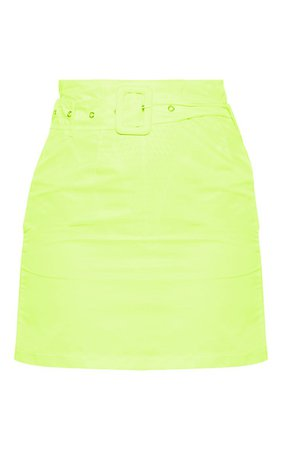 Neon YellowShell Belted Waist Mini Skirt | PrettyLittleThing