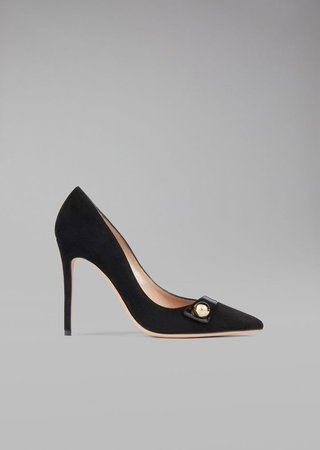 Suede Leather Pump With Tuxedo Detail
