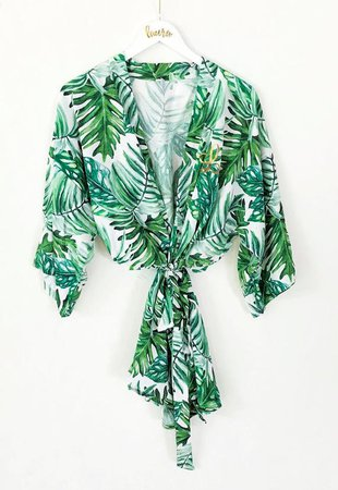Palm Leaf Robe Tropical Robes for Bridesmaids Beach | Etsy