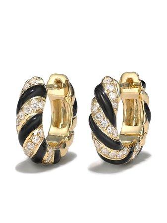 Yvonne Léon 9kt Yellow Gold Crystal Hoop Earrings - Farfetch