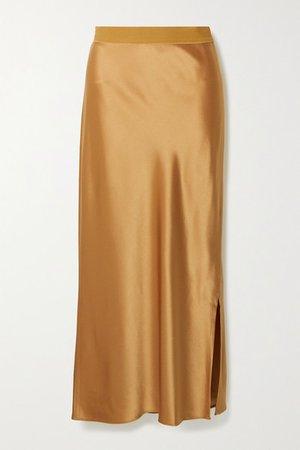 Satin Midi Skirt - Camel