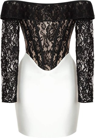 Rasario Lace And Satin Off-The-Shoulder Mini Dress