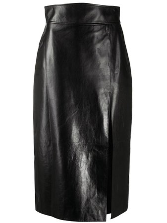 Gucci, Leather high-waisted Pencil Skirt
