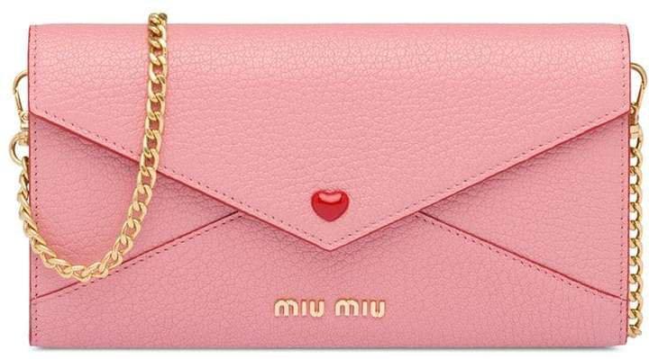 heart applique envelope clutch