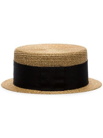Saint Laurent Metallic Gold And Black Small Straw Boater Hat - Farfetch