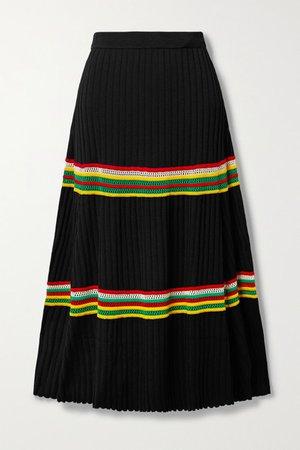 Saint Ann Crochet-trimmed Ribbed-knit Midi Skirt - Black