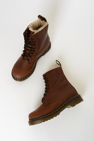 Dr. Martens 1460 Serena - Brown Boots - Genuine Leather Boots - Lulus