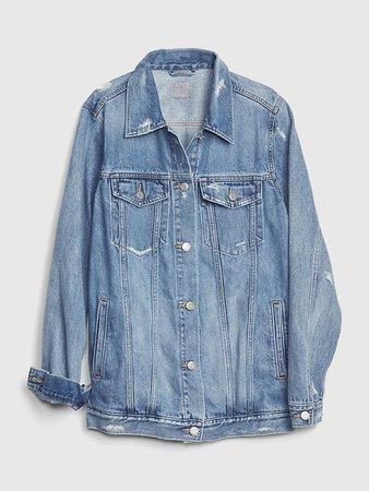 Distressed Oversized Icon Denim Jacket | Gap