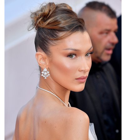 bella Hadid sleek updo hairstyle