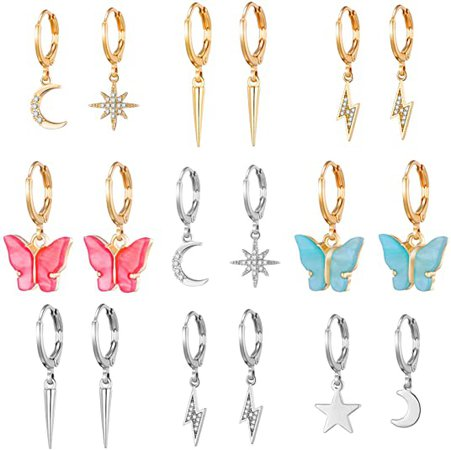 Amazon.com: 9 Pairs Hoop Earrings with Charm for Women Aesthetic Earrings Lesbian Earrings- Butterfly Earrings for Women Pack- Sun Moon and Star Earrings for Girls-Butterfly Dangle Earrings for Women Fashion: Jewelry