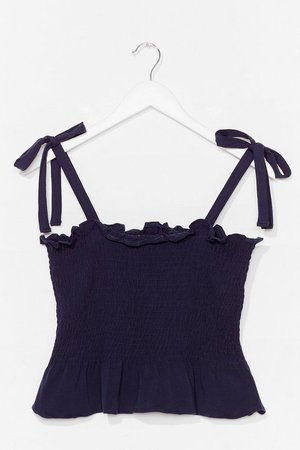 Shirred Does Tie Cami Top   Nasty Gal