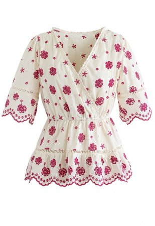 Floral Broderie Anglaise Wrap Peplum Top in Berry - NEW ARRIVALS - Retro, Indie and Unique Fashion